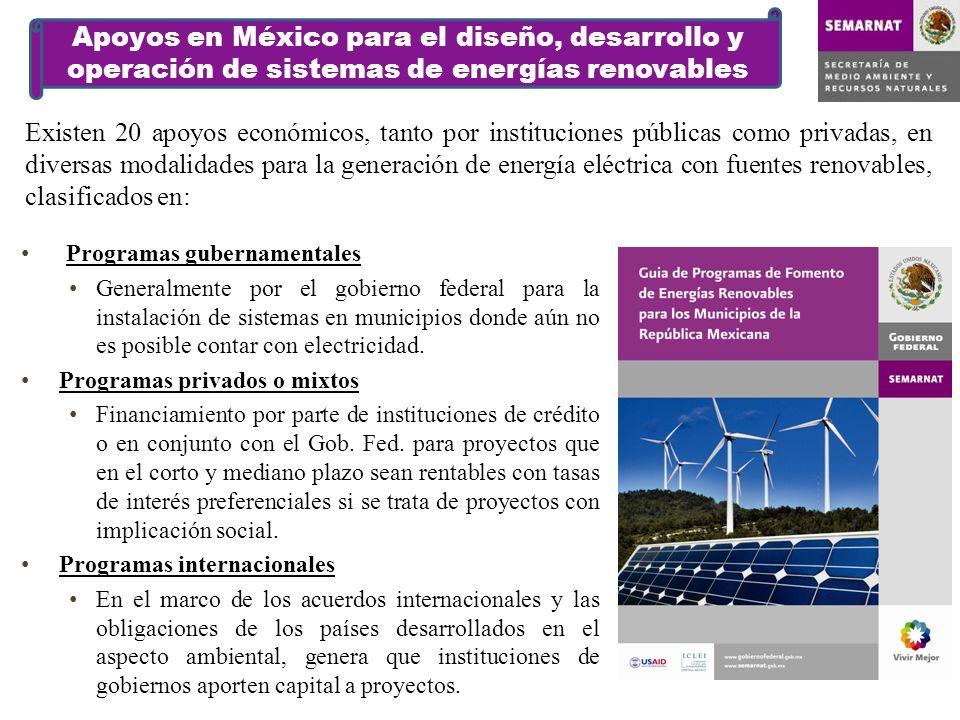 Apoyos en México para el diseño, desarrollo y operación de sistemas de energías renovables Programas gubernamentales Generalmente por el gobierno federal para la instalación de sistemas en municipios donde aún no es posible contar con electricidad.