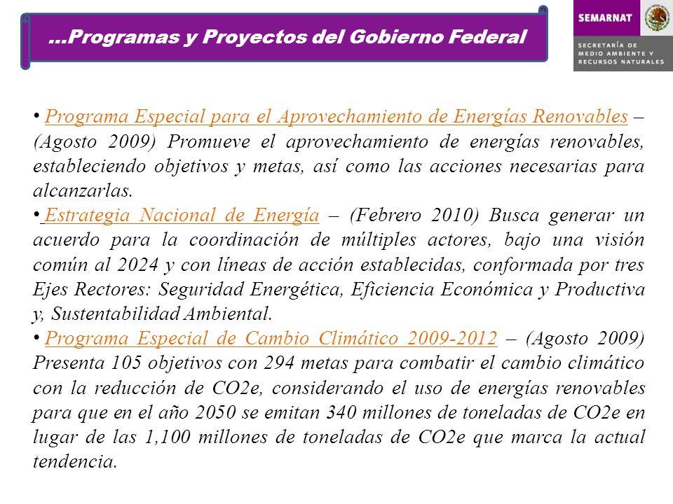 Programa Especial para el Aprovechamiento de Energías Renovables – (Agosto 2009) Promueve el aprovechamiento de energías renovables, estableciendo objetivos y metas, así como las acciones necesarias para alcanzarlas.