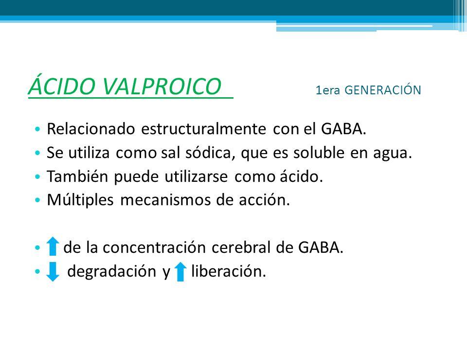 ÁCIDO VALPROICO 1era GENERACIÓN Relacionado estructuralmente con el GABA. Se utiliza como sal sódica, que es soluble en agua. También puede utilizarse