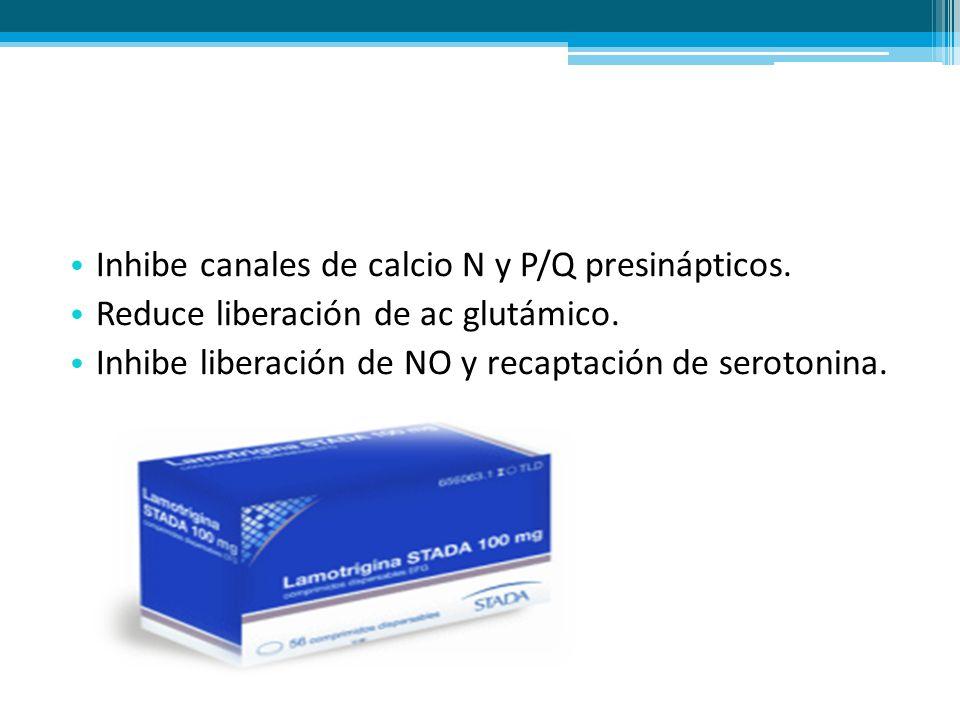 Inhibe canales de calcio N y P/Q presinápticos. Reduce liberación de ac glutámico. Inhibe liberación de NO y recaptación de serotonina.