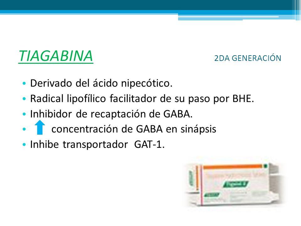 TIAGABINA 2DA GENERACIÓN Derivado del ácido nipecótico. Radical lipofílico facilitador de su paso por BHE. Inhibidor de recaptación de GABA. concentra