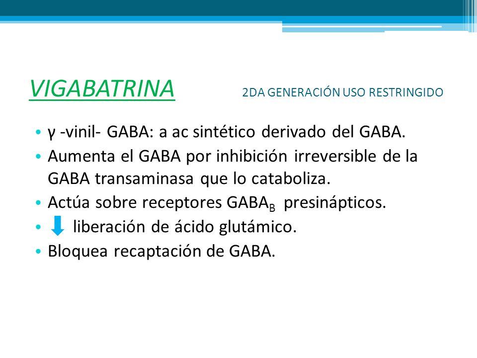 VIGABATRINA 2DA GENERACIÓN USO RESTRINGIDO γ -vinil- GABA: a ac sintético derivado del GABA. Aumenta el GABA por inhibición irreversible de la GABA tr