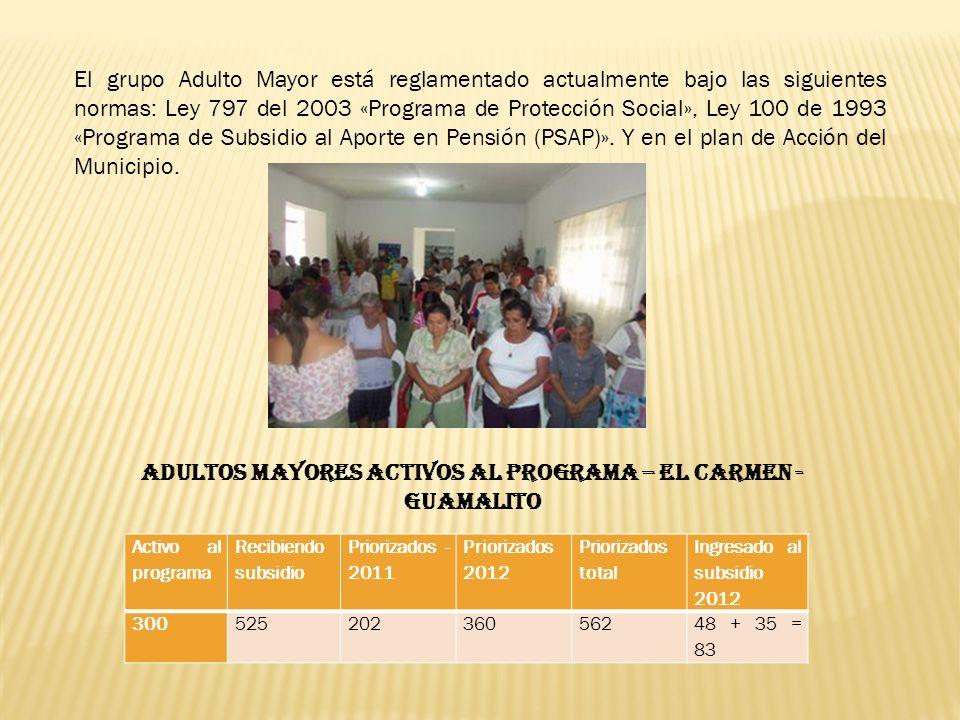 El grupo Adulto Mayor está reglamentado actualmente bajo las siguientes normas: Ley 797 del 2003 «Programa de Protección Social», Ley 100 de 1993 «Pro