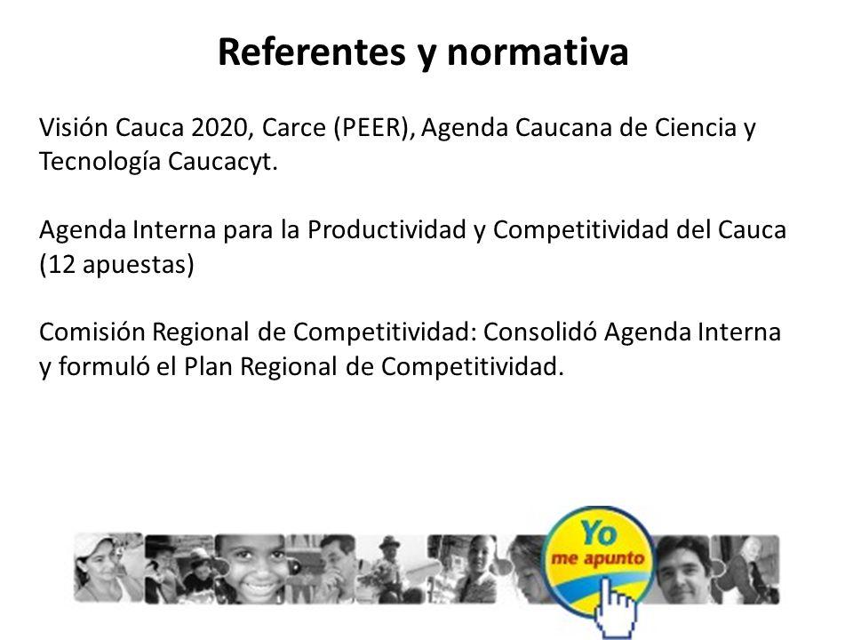 Referentes y normativa Visión Cauca 2020, Carce (PEER), Agenda Caucana de Ciencia y Tecnología Caucacyt. Agenda Interna para la Productividad y Compet