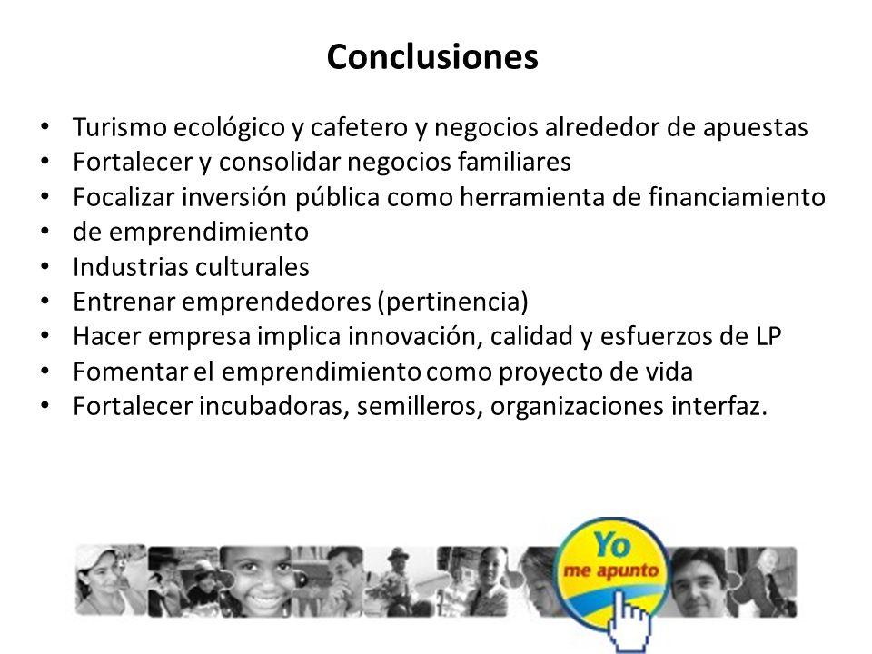 Conclusiones Turismo ecológico y cafetero y negocios alrededor de apuestas Fortalecer y consolidar negocios familiares Focalizar inversión pública com