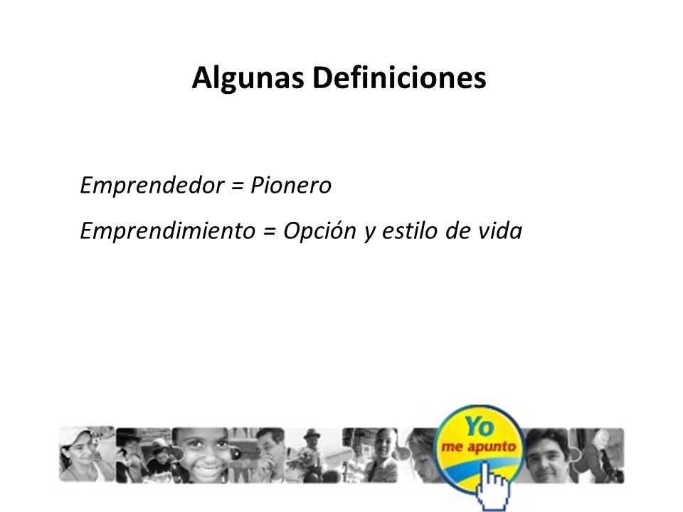 Algunas Definiciones Emprendedor = Pionero Emprendimiento = Opción y estilo de vida