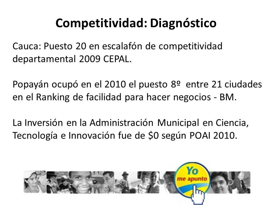 Competitividad: Diagnóstico Cauca: Puesto 20 en escalafón de competitividad departamental 2009 CEPAL. Popayán ocupó en el 2010 el puesto 8º entre 21 c