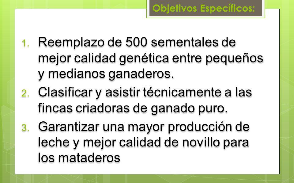 Objetivos Específicos: 1. Reemplazo de 500 sementales de mejor calidad genética entre pequeños y medianos ganaderos. 2. Clasificar y asistir técnicame