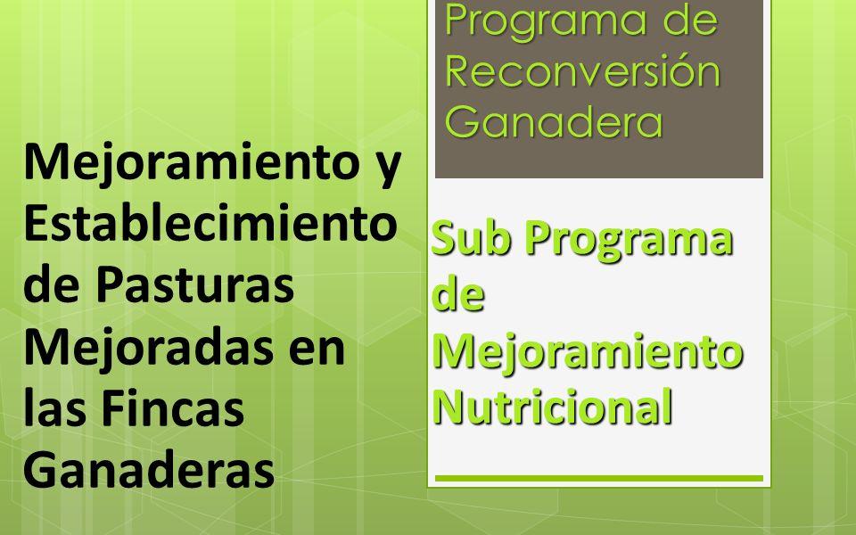 Programa de Reconversión Ganadera Sub Programa de Mejoramiento Nutricional Mejoramiento y Establecimiento de Pasturas Mejoradas en las Fincas Ganadera