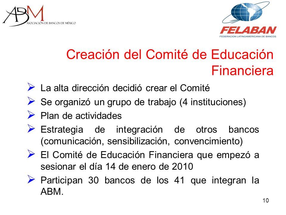La alta dirección decidió crear el Comité Se organizó un grupo de trabajo (4 instituciones) Plan de actividades Estrategia de integración de otros bancos (comunicación, sensibilización, convencimiento) El Comité de Educación Financiera que empezó a sesionar el día 14 de enero de 2010 Participan 30 bancos de los 41 que integran la ABM.