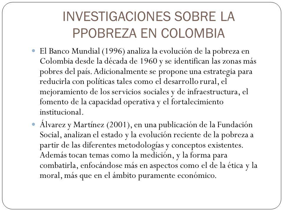INVESTIGACIONES SOBRE LA PPOBREZA EN COLOMBIA El Banco Mundial (1996) analiza la evolución de la pobreza en Colombia desde la década de 1960 y se iden
