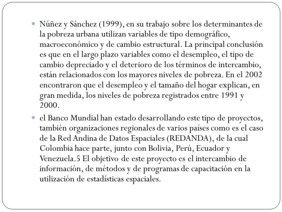 Núñez y Sánchez (1999), en su trabajo sobre los determinantes de la pobreza urbana utilizan variables de tipo demográfico, macroeconómico y de cambio