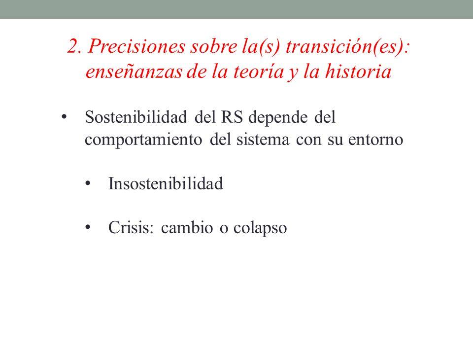 2. Precisiones sobre la(s) transición(es): enseñanzas de la teoría y la historia Sostenibilidad del RS depende del comportamiento del sistema con su e