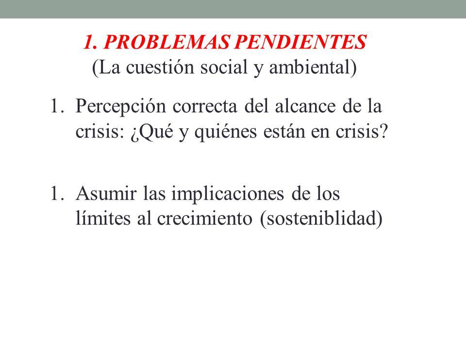 1. PROBLEMAS PENDIENTES (La cuestión social y ambiental) 1.Percepción correcta del alcance de la crisis: ¿Qué y quiénes están en crisis? 1.Asumir las