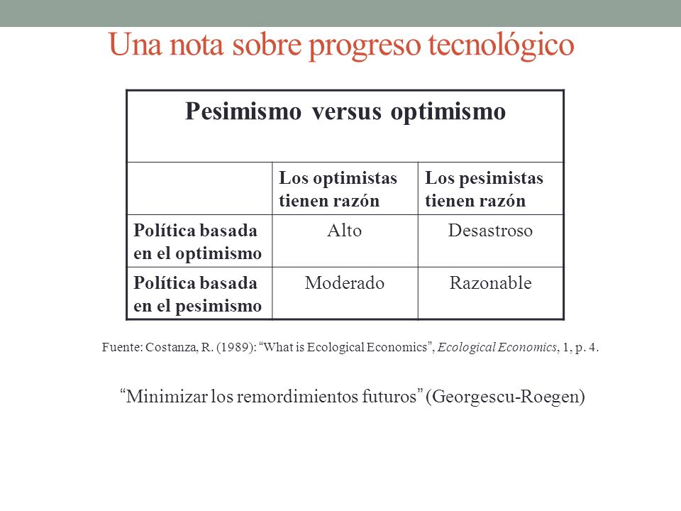 Una nota sobre progreso tecnológico Fuente: Costanza, R. (1989): What is Ecological Economics, Ecological Economics, 1, p. 4. Pesimismo versus optimis