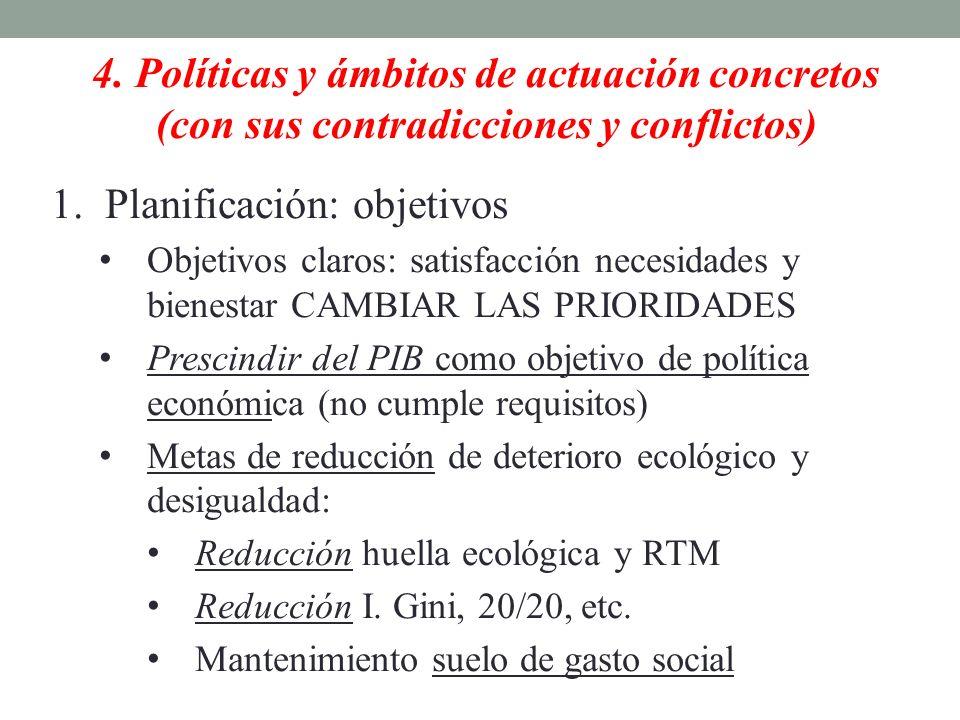 4. Políticas y ámbitos de actuación concretos (con sus contradicciones y conflictos) 1.Planificación: objetivos Objetivos claros: satisfacción necesid