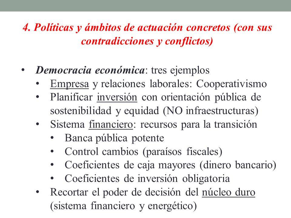 4. Políticas y ámbitos de actuación concretos (con sus contradicciones y conflictos) Democracia económica: tres ejemplos Empresa y relaciones laborale
