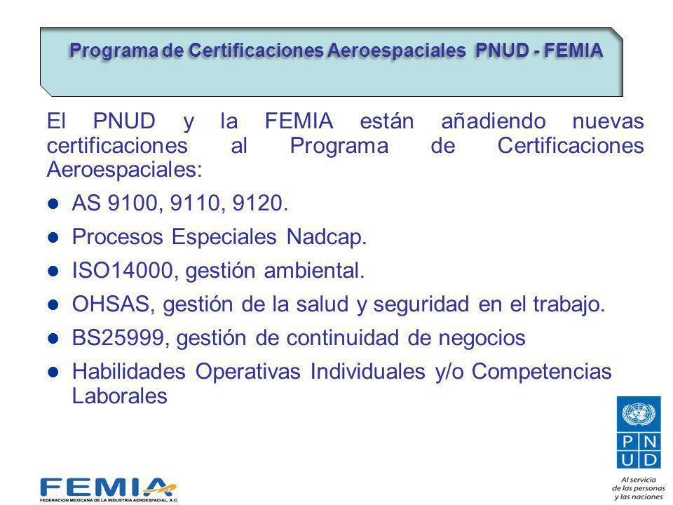 El PNUD y la FEMIA están añadiendo nuevas certificaciones al Programa de Certificaciones Aeroespaciales: AS 9100, 9110, 9120.