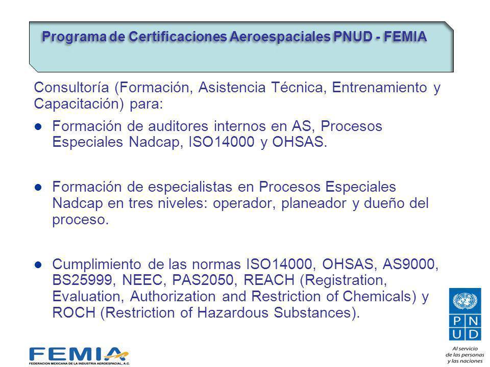 Consultoría (Formación, Asistencia Técnica, Entrenamiento y Capacitación) para: Formación de auditores internos en AS, Procesos Especiales Nadcap, ISO14000 y OHSAS.