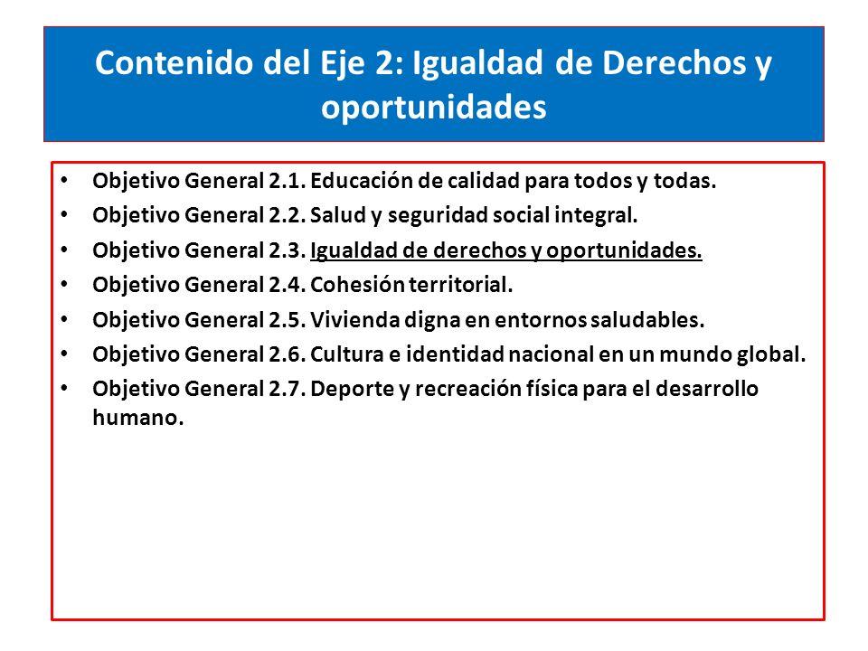 Contenido del Eje 2: Igualdad de Derechos y oportunidades Objetivo General 2.1.