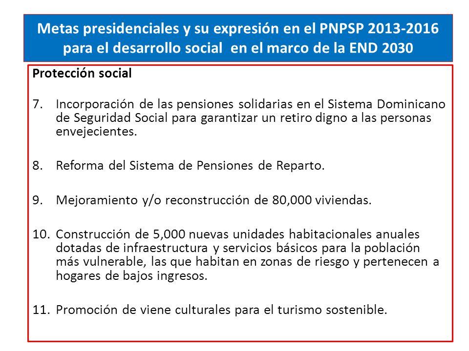 Metas presidenciales y su expresión en el PNPSP 2013-2016 para el desarrollo social en el marco de la END 2030 Protección social 7.Incorporación de las pensiones solidarias en el Sistema Dominicano de Seguridad Social para garantizar un retiro digno a las personas envejecientes.