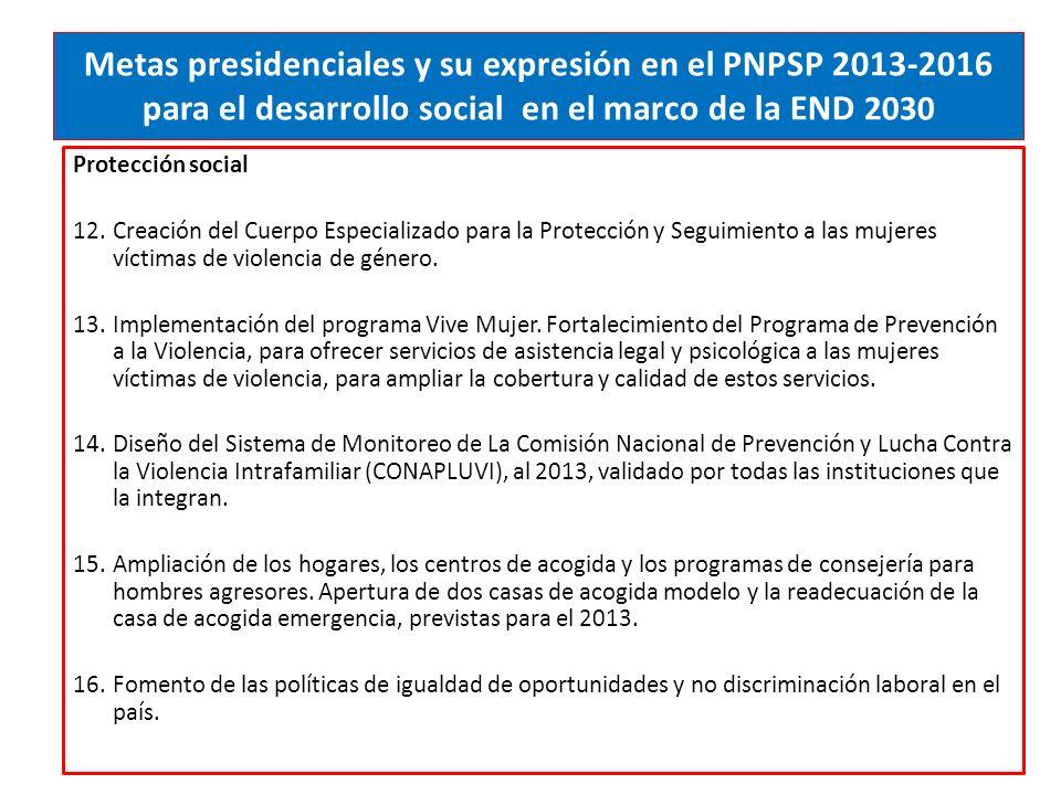 Metas presidenciales y su expresión en el PNPSP 2013-2016 para el desarrollo social en el marco de la END 2030 Protección social 12.Creación del Cuerpo Especializado para la Protección y Seguimiento a las mujeres víctimas de violencia de género.