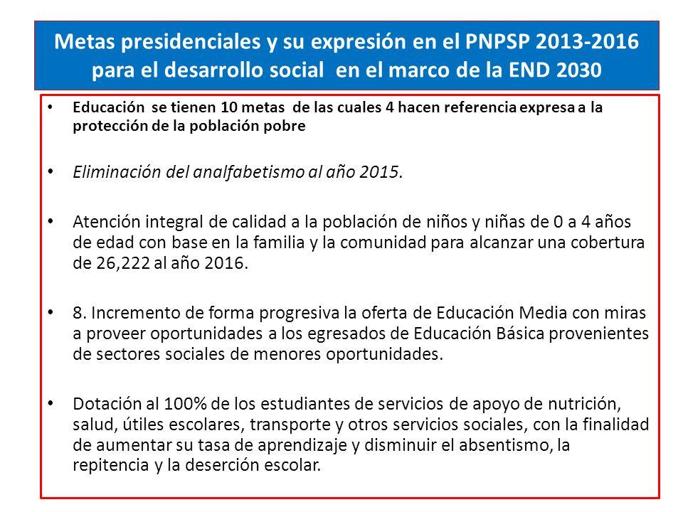 Metas presidenciales y su expresión en el PNPSP 2013-2016 para el desarrollo social en el marco de la END 2030 Educación se tienen 10 metas de las cuales 4 hacen referencia expresa a la protección de la población pobre Eliminación del analfabetismo al año 2015.