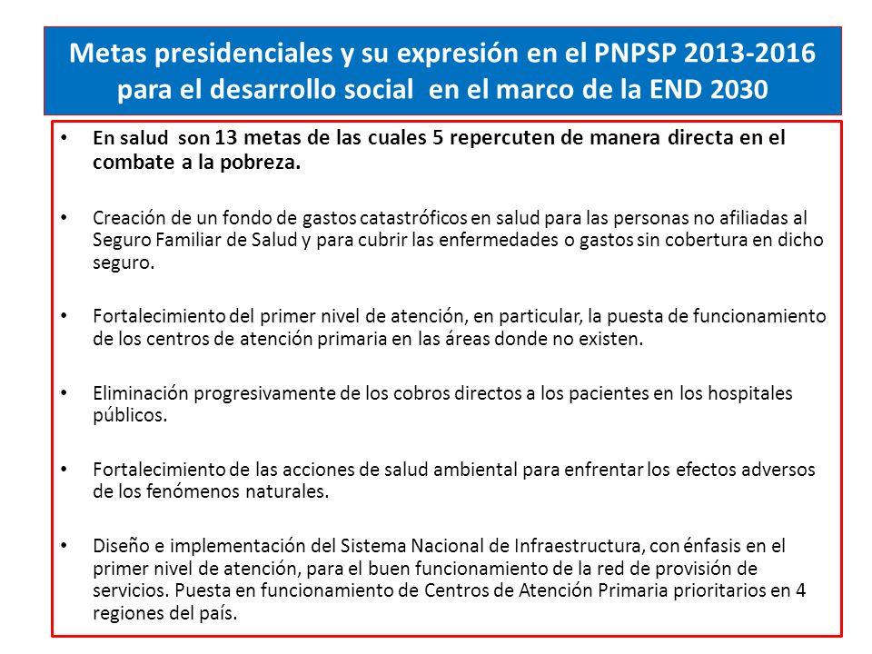 Metas presidenciales y su expresión en el PNPSP 2013-2016 para el desarrollo social en el marco de la END 2030 En salud son 13 metas de las cuales 5 repercuten de manera directa en el combate a la pobreza.