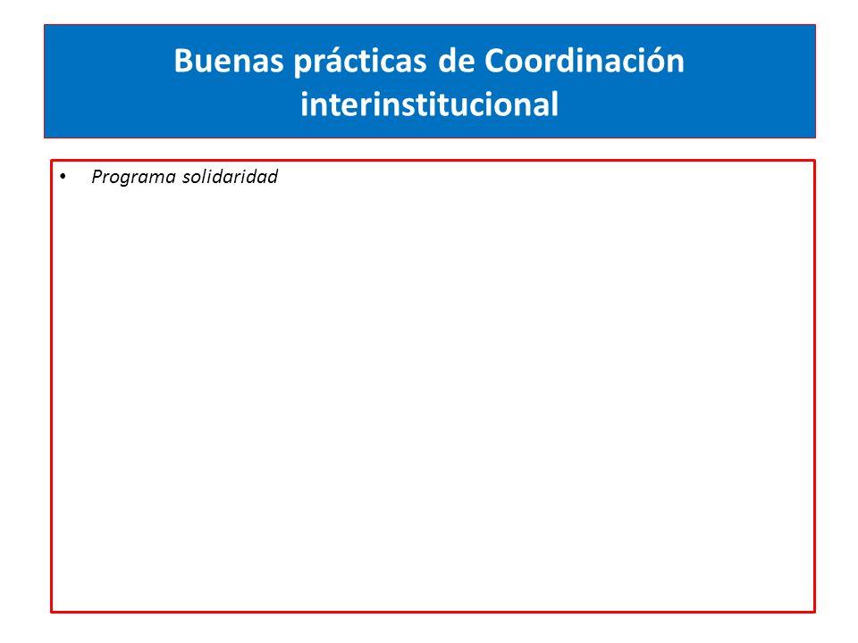 Buenas prácticas de Coordinación interinstitucional Programa solidaridad