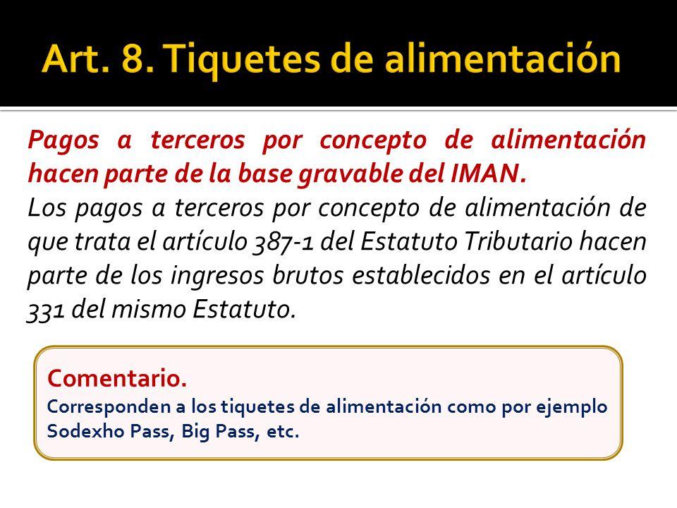 Pagos a terceros por concepto de alimentación hacen parte de la base gravable del IMAN. Los pagos a terceros por concepto de alimentación de que trata