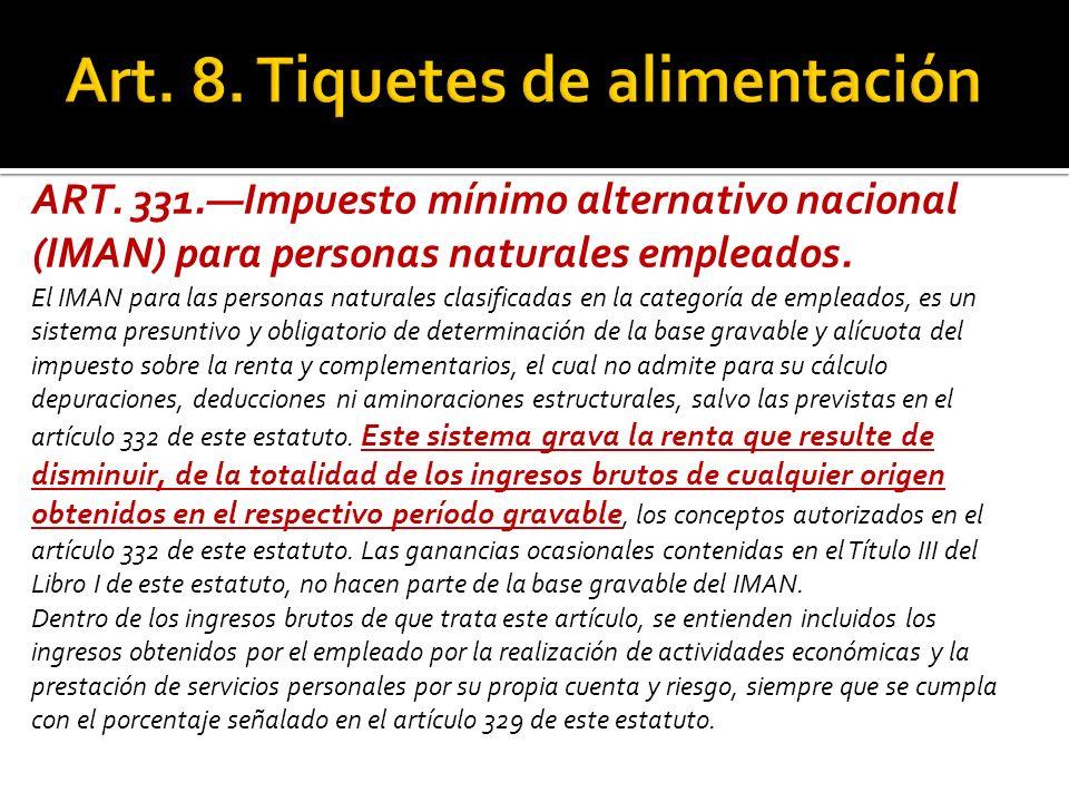 ART. 331.Impuesto mínimo alternativo nacional (IMAN) para personas naturales empleados. El IMAN para las personas naturales clasificadas en la categor