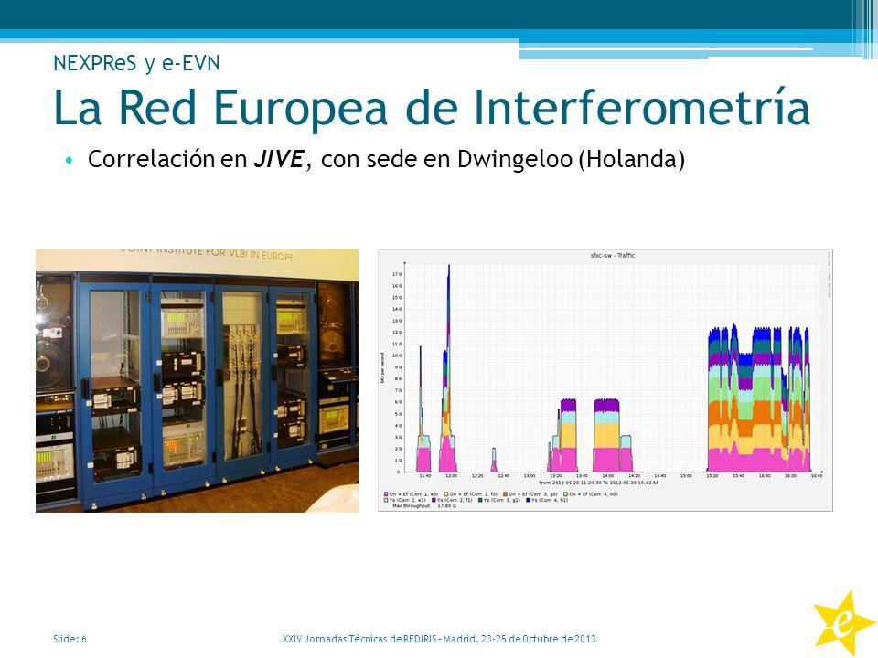 La Red Europea de Interferometría Correlación en JIVE, con sede en Dwingeloo (Holanda) Slide: 6 XXIV Jornadas Técnicas de REDIRIS – Madrid, 23-25 de O