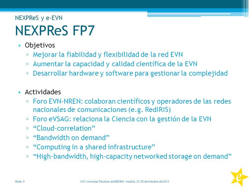 NEXPReS FP7 Objetivos Mejorar la fiabilidad y flexibilidad de la red EVN Aumentar la capacidad y calidad científica de la EVN Desarrollar hardware y s