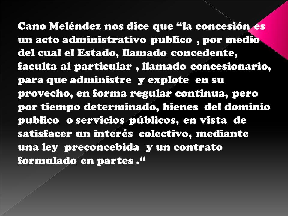 Martínez Morales considera que la concesión es el acto jurídico unilateral por el cual el estado confiere a un particular la potestad de explotar a su nombre un servicio o bien públicos, que le pertenecen a aquel, satisfaciendo necesidades de interés general.