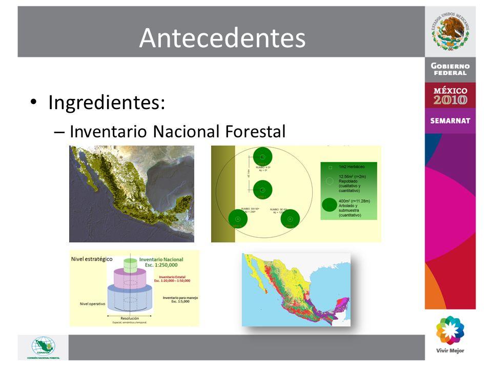Antecedentes Ingredientes: – Inventario Nacional Forestal