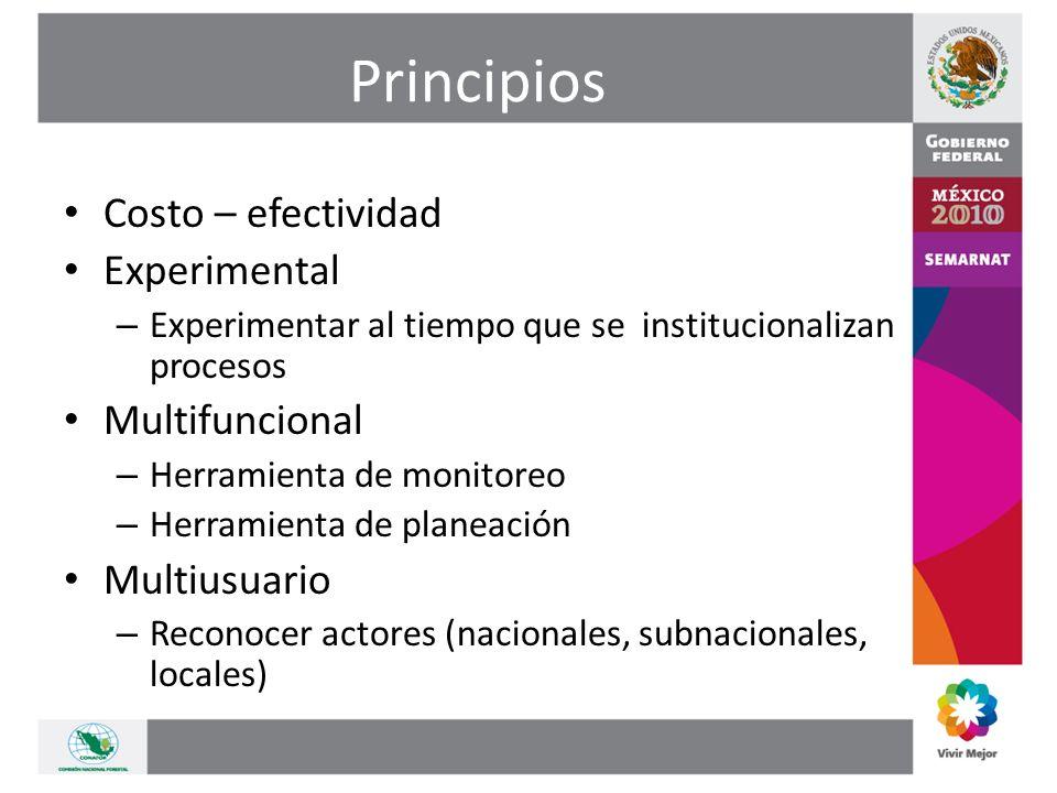 Principios Costo – efectividad Experimental – Experimentar al tiempo que se institucionalizan procesos Multifuncional – Herramienta de monitoreo – Herramienta de planeación Multiusuario – Reconocer actores (nacionales, subnacionales, locales)