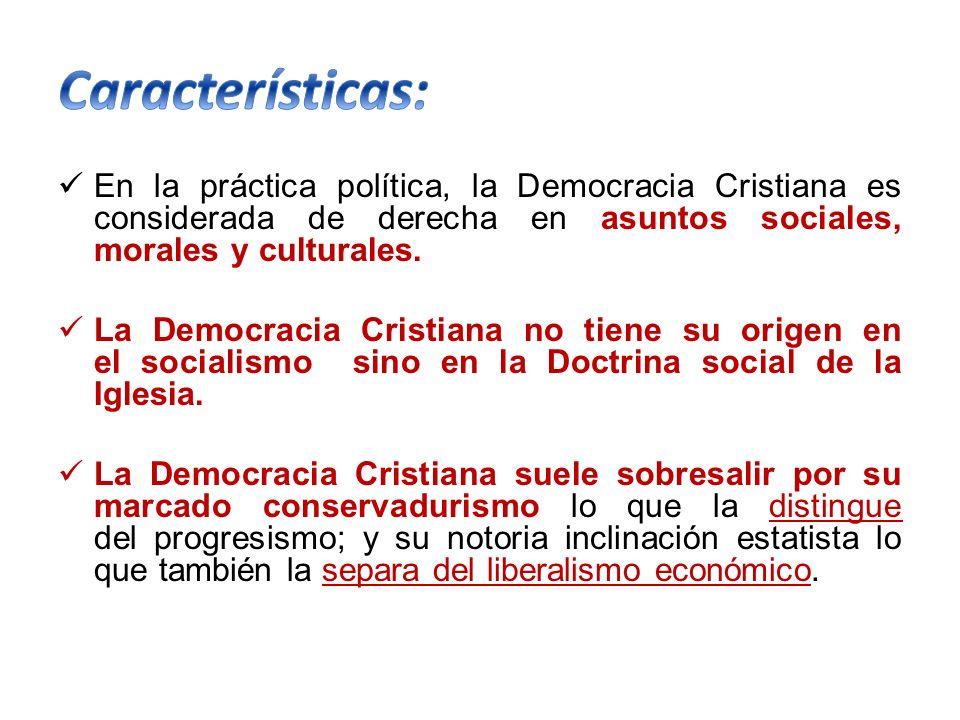 En la práctica política, la Democracia Cristiana es considerada de derecha en asuntos sociales, morales y culturales. La Democracia Cristiana no tiene