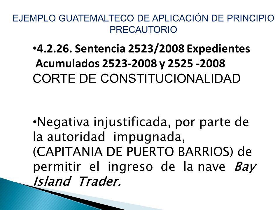EJEMPLO GUATEMALTECO DE APLICACIÓN DE PRINCIPIO PRECAUTORIO 4.2.26. Sentencia 2523/2008 Expedientes Acumulados 2523-2008 y 2525 -2008 CORTE DE CONSTIT