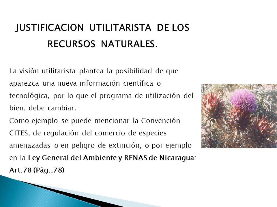 JUSTIFICACION UTILITARISTA DE LOS RECURSOS NATURALES. La visión utilitarista plantea la posibilidad de que aparezca una nueva información científica o