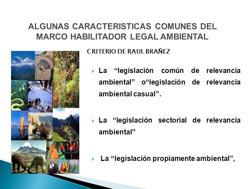 La legislación común de relevancia ambiental olegislación de relevancia ambiental casual. La legislación sectorial de relevancia ambiental La legislac