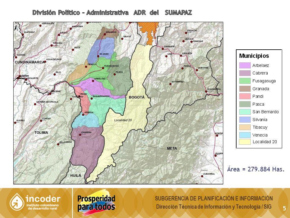 Contexto económico del ADR de Sumapaz Distribución del PIB de Cundinamarca según provincias: 2005.