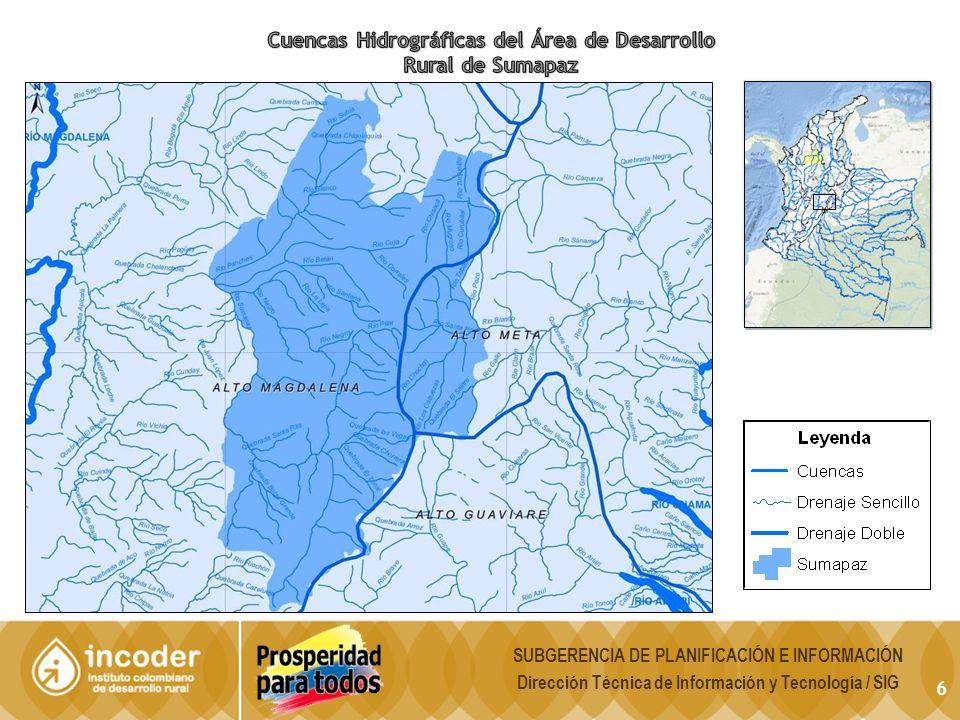 17 La zona de reserva campesina de Cabrera abarca 68 km 2 que corresponden al 100% del municipio.
