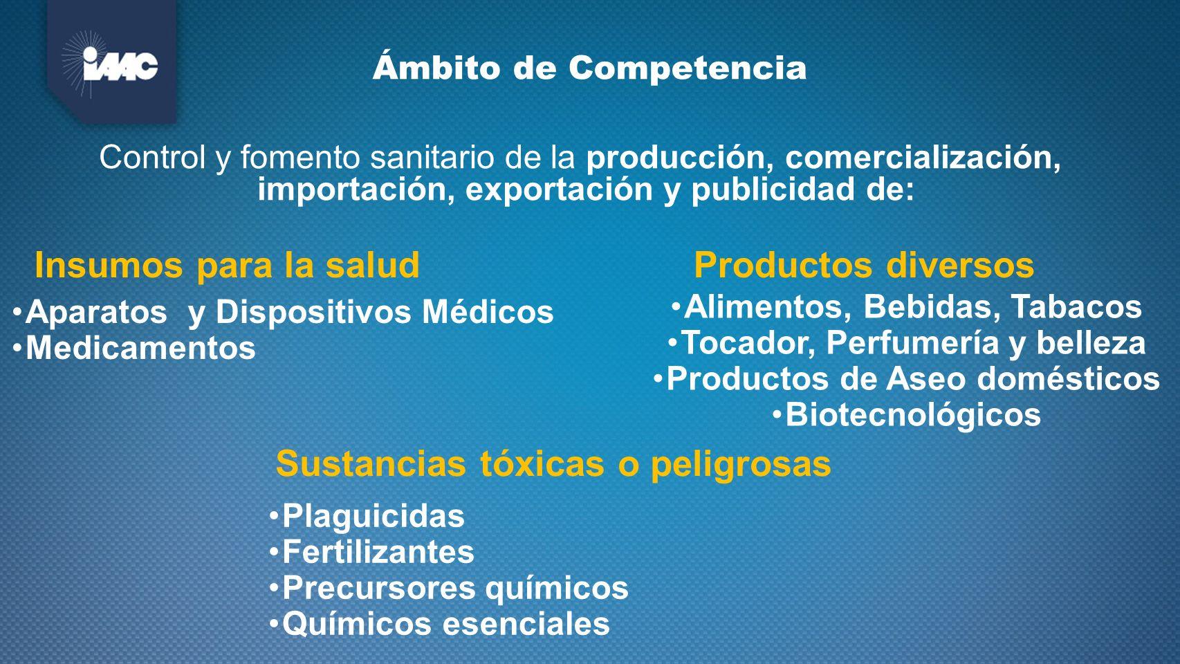 Ámbito de Competencia Control y fomento sanitario de la producción, comercialización, importación, exportación y publicidad de: Insumos para la salud