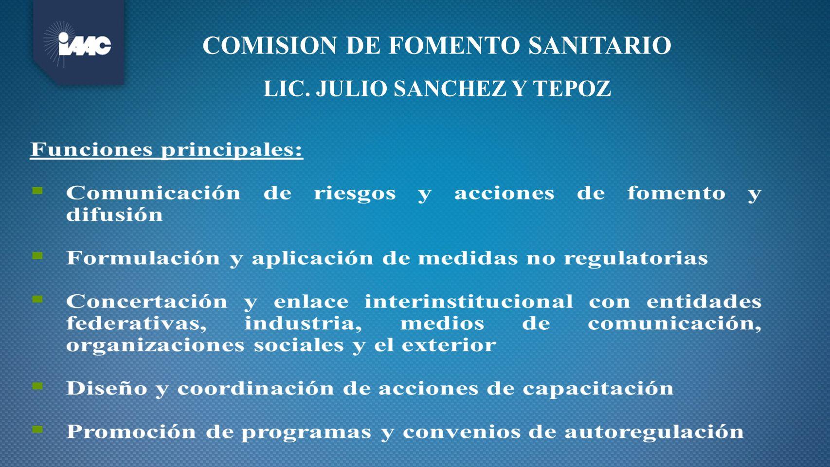 Subdirección Ejecutiva de ASUNTOS INTERNACIONALES Gerencia de TRATADOS Y ACUERDOS BILATERALES Gerencia de VINCULACIÓN CON ENTIDADES FEDERATIVAS Gerencia de ORGANISMOS INTERNACIONALES Gerencia de VINCULACIÓN CON SECTORES PÚBLICO, PRIVADO Y SOCIAL Secretario Particular Gerencia de ESTRATEGIAS DE DIFUSIÓN Gerencia de EVALUACIÓN Y ENLACE CON MEDIOS Gerencia de DISEÑO DE CONTENIDOS Gerencia de FORMACIÓN DE INSTRUCTORES Y LOGÍSTICA DE CAPACITACIÓN Subdirección Ejecutiva de VINCULACIÓN NACIONAL Subdirección Ejecutiva de COMUNICACIÓN DE RIESGOS Dirección Ejecutiva de VINCULACIÓN Y CONCERTACIÓN Dirección Ejecutiva de COMUNICACIÓN DE RIESGOS Y CAPACITACIÓN COMISION DE FOMENTO SANITARIO LIC.