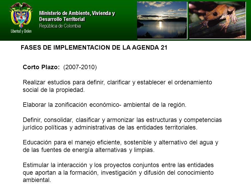 FASES DE IMPLEMENTACION DE LA AGENDA 21 Corto Plazo: (2007-2010) Realizar estudios para definir, clarificar y establecer el ordenamiento social de la propiedad.