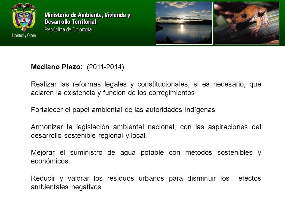 Mediano Plazo: (2011-2014) Realizar las reformas legales y constitucionales, si es necesario, que aclaren la existencia y función de los corregimientos Fortalecer el papel ambiental de las autoridades indígenas Armonizar la legislación ambiental nacional, con las aspiraciones del desarrollo sostenible regional y local.