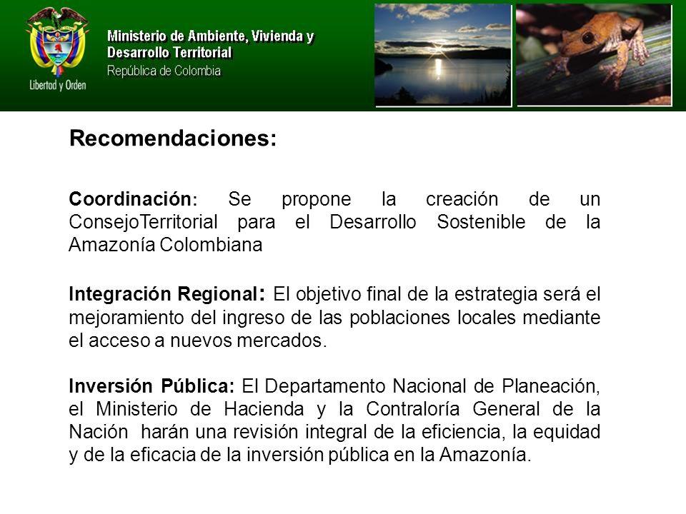 Coordinación : Se propone la creación de un ConsejoTerritorial para el Desarrollo Sostenible de la Amazonía Colombiana Integración Regional : El objetivo final de la estrategia será el mejoramiento del ingreso de las poblaciones locales mediante el acceso a nuevos mercados.