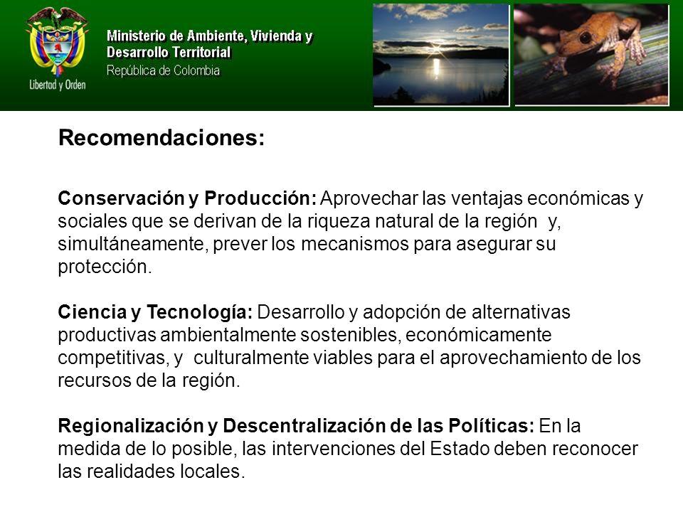 Conservación y Producción: Aprovechar las ventajas económicas y sociales que se derivan de la riqueza natural de la región y, simultáneamente, prever los mecanismos para asegurar su protección.