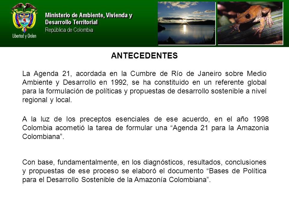 La Agenda 21, acordada en la Cumbre de Río de Janeiro sobre Medio Ambiente y Desarrollo en 1992, se ha constituido en un referente global para la formulación de políticas y propuestas de desarrollo sostenible a nivel regional y local.