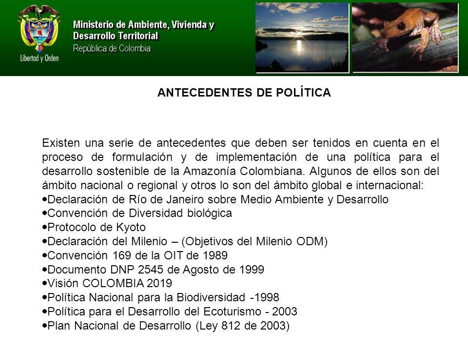 Existen una serie de antecedentes que deben ser tenidos en cuenta en el proceso de formulación y de implementación de una política para el desarrollo sostenible de la Amazonía Colombiana.